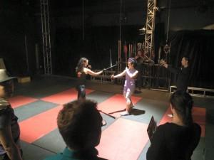 Casey Fighting on Set